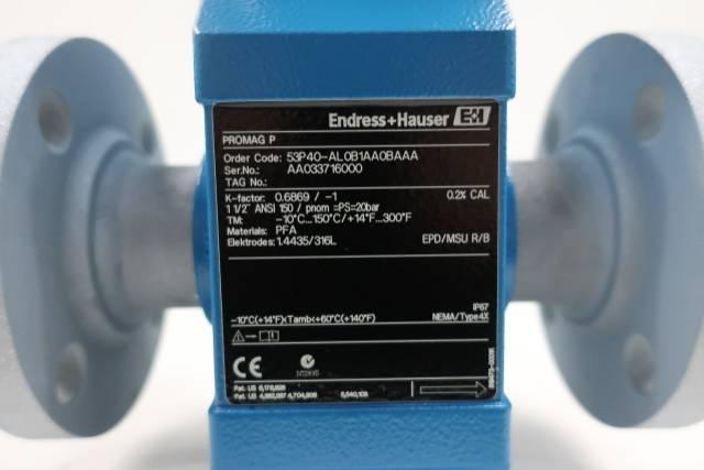 ENDRESS HAUSER 53P40-AL0B1AA0BAAA PROMAG P FLOW METER 1-1/2IN D618416