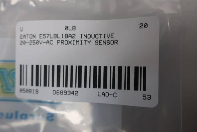 EATON E57LBL18A2 CUTLER HAMMER INDUCTIVE PROXIMITY SENSOR 20-250V-AC
