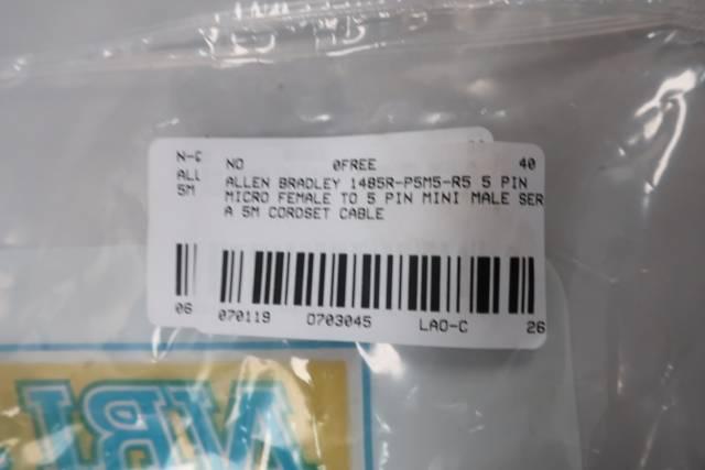 ALLEN BRADLEY 1485R-P5M5-R5 5P MICRO FEMALE TO 5P MINI MALE 5M CABLE SER A