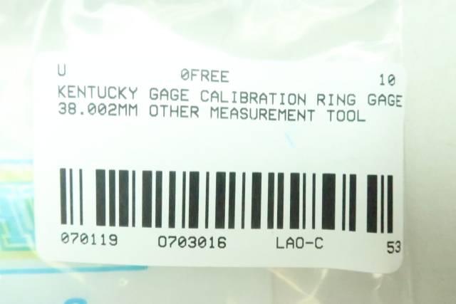 KENTUCKY GAGE CALIBRATION RING 38.002MM