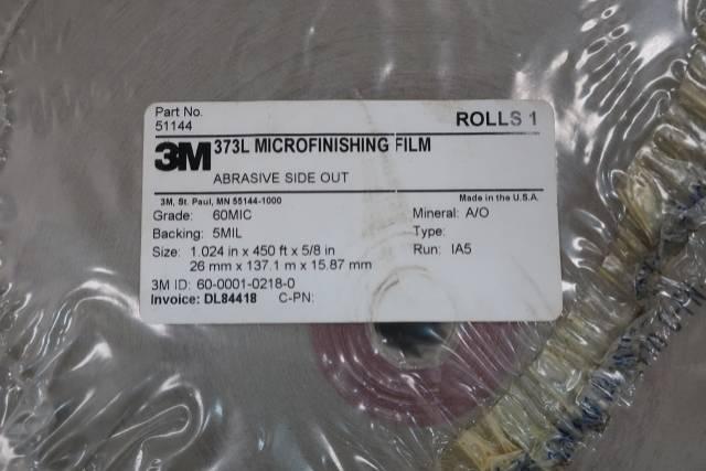 3M 51144 373L MICROFINISHING FILM 1.024IN X 450FT X 5/8IN 60MICRON