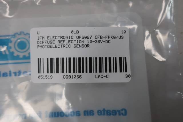 IFM ELECTRONIC OF5027 OFB-FPKG/US DIFFUSE REFLECTION PHOTOELECTRIC SENSOR