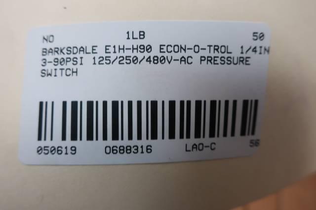 BARKSDALE E1H-H90 ECON-O-TROL PRESSURE SWITCH 3-90PSI 125/250/480V-AC