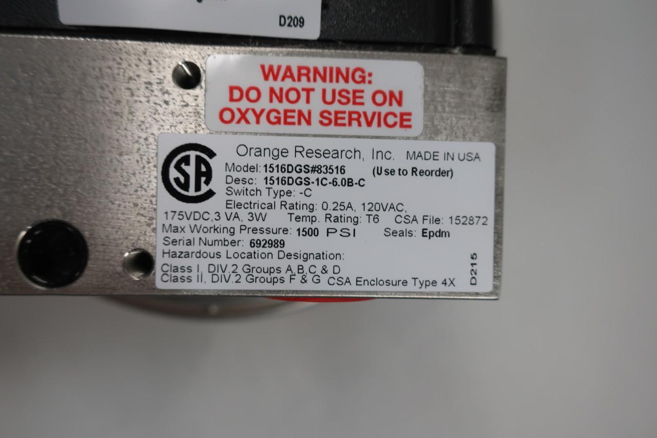 Orange Research 1516DGS-1C-6.0B-C Differential Pressure Gauge 0-5psi