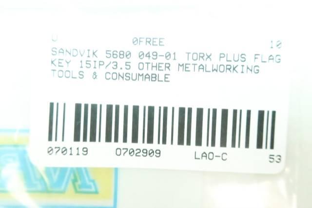 SANDVIK 5680 049-01 TORX PLUS FLAG KEY 15IP/3.5