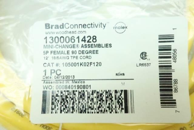 BRAD CONNECTIVITY 105001K02F120 WOODHEAD MINI-CHANGE 5P FEMALE 90DEG CABLE 12FT