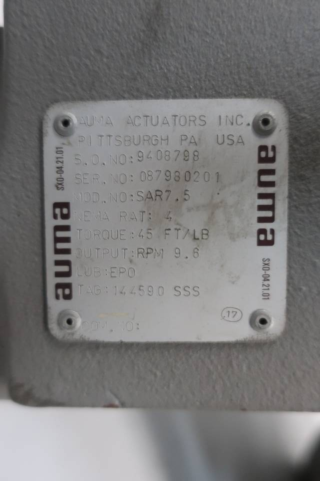AUMA SAR7.5 ELECTRIC VALVE ACTUATOR 40:1 D658332