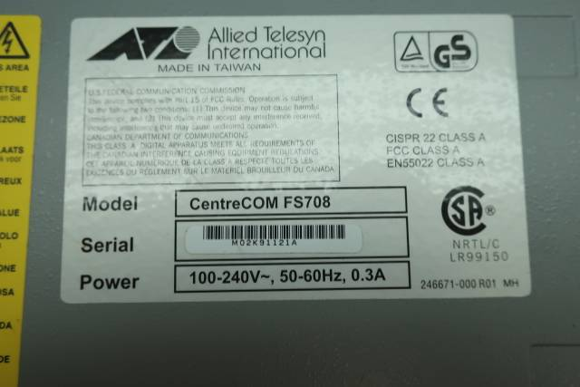 ALLIED TELESYN CENTRECOM FS708 8 PORT FAST ETHERNET SWITCH  D642389