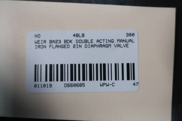 WEIR BA23 BDK DOUBLE ACTING DIAPHRAGM VALVE MANUAL IRON FLANGED 2IN D660685