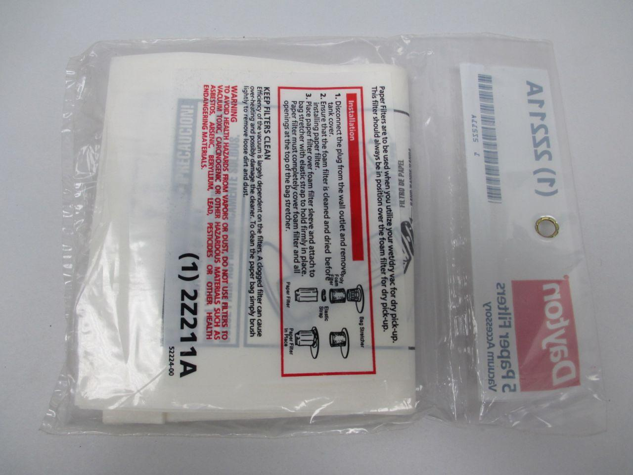 2Z211A Dayton Vacuum Paper Filters Pack of 5