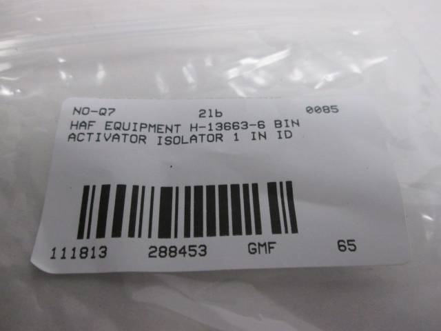 HAF EQUIPMENT H-13663-6 BIN ACTIVATOR ISOLATOR 1 IN ID D288453