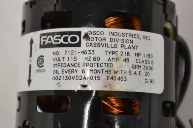 FASCO 7121-4633 21B 0 48A AMP BLOWER FAN AC 1/80HP 115V-AC 3000RPM MOTOR  B294044