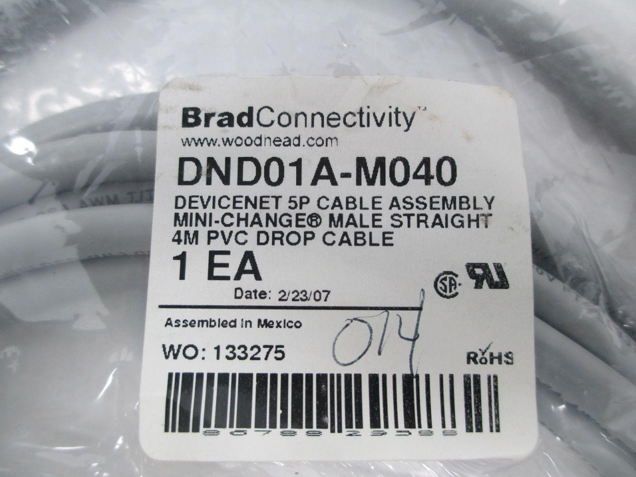 Mini-Change Male Staight 4M Brad Harrison DND01A-M040 Devicenet 5P Cable NEW