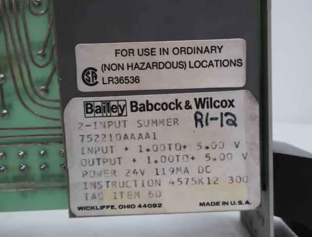 BAILEY 752210AAAA1 BABCOCK WILCOX 2-INPUT SUMMER MODULE R690815