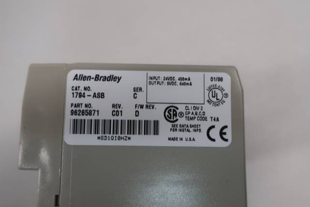ALLEN BRADLEY 1794-ASB FLEX I/O POWER SUPPLY RIO ADAPTER 24V-DC REV C01 SER C