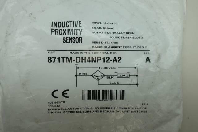 ALLEN BRADLEY 871TM-DH4NP12-A2 INDUCTIVE PROXIMITY SENSOR SER A 10-30V-DC