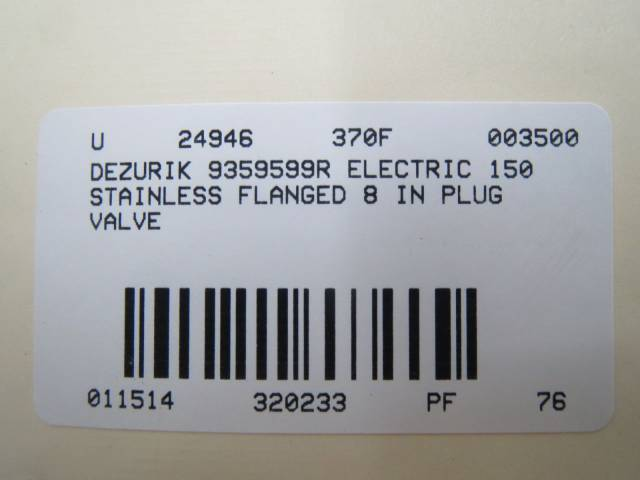 DEZURIK 9359599R ELECTRIC 150 STAINLESS FLANGED 8 IN PLUG VALVE B320233