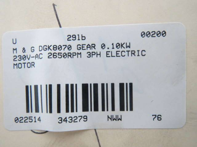 M & G DGK8070 GEAR 0.10KW 230V-AC 2650RPM 35:1 3PH ...