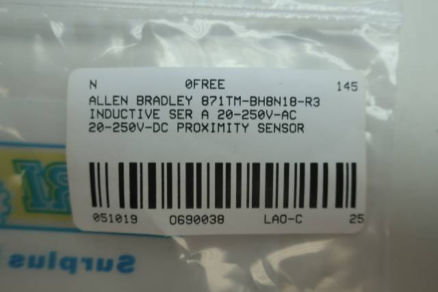 ALLEN BRADLEY 871TM-BH8N18-R3 INDUCTIVE PROXIMITY SENSOR 20-250V-AC/DC SER A
