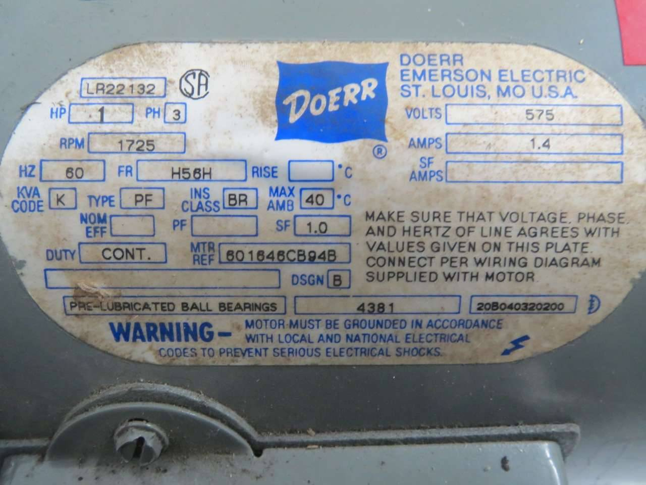 Doerr LR22132 Ac 1hp 575v-ac 1725rpm H56h 3ph Electric Motor B350473NRI Industrial