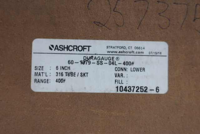 ASHCROFT 60-1379-SS-04L-400# DURAGAUGE PRESSURE GAUGE 6IN 0-400PSI D660390