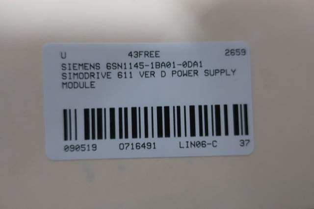 SIEMENS 6SN1145-1BA01-0DA1 SIMODRIVE INFEED/REGENERATIVE FEEDBACK MODULE VER D