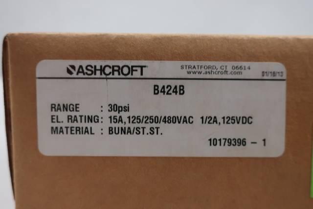 ASHCROFT B424B PRESSURE SWITCH 1/4IN 30PSI 125/250/480V-AC