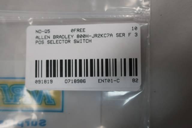 ALLEN BRADLEY 800H-JR2KC7A 3 POS SELECTOR SWITCH SER F