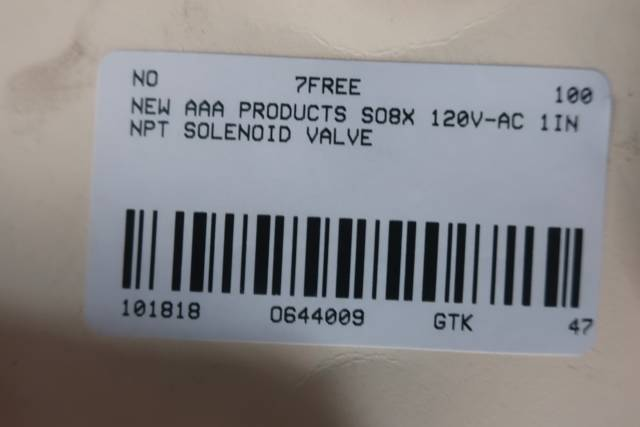 AAA PRODUCTS SO8X SOLENOID VALVE 120V-AC 1IN NPT D644009