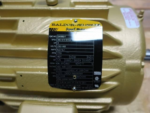 BALDOR EM3661T RELIANCE SUPER E 182T 3PH 3HP 1755RPM 230/460V-AC AC MOTOR
