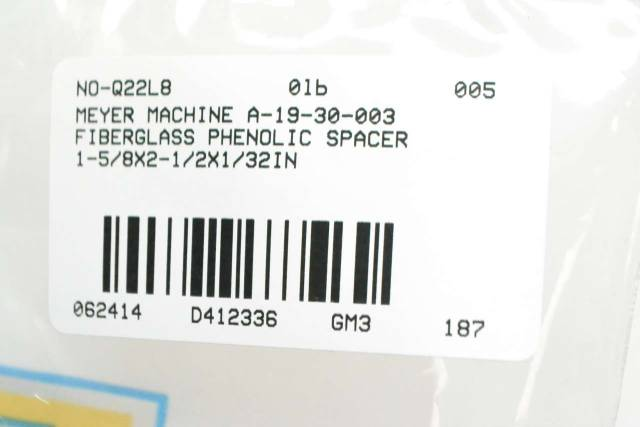 LOT 8 MEYER MACHINE A-19-30-003 FIBERGLASS PHENOLIC SPACER D412336