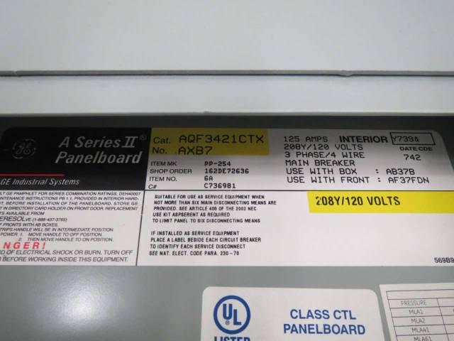 GENERAL ELECTRIC GE AQF3421CTX 125A AMP 120/208V-AC DISTRIBUTION PANEL  B423392