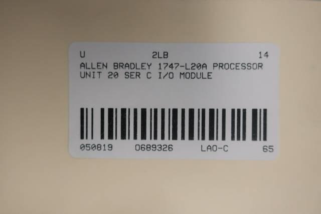 ALLEN BRADLEY 1747-L20A PROCESSOR UNIT 20 I/O MODULE SER C