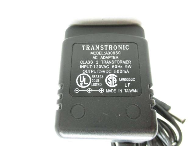 TRANSTRONICS A30950 AC ADAPTER 120V-AC 9V-DC 9W POWER SUPPLY D460326