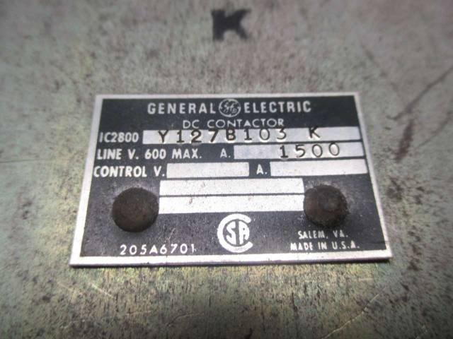 GENERAL ELECTRIC GE Y127B103 K 250V-DC 1500A AMP DC CONTACTOR D468705