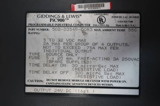 GIDDINGS LEWIS 502-03549-00R3 PIC900 PROGRAMMABLE OUTPUT MODULE 24V-DC