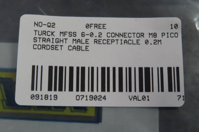 TURCK MFSS 6-0.2 CONNECTOR M8 PICO STRAIGHT MALE RECEPTIACLE 0.2M