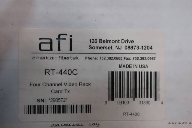 AMERICAN FIBERTEK RT-440C FOUR CHANNEL VIDEO RACK CARD TX