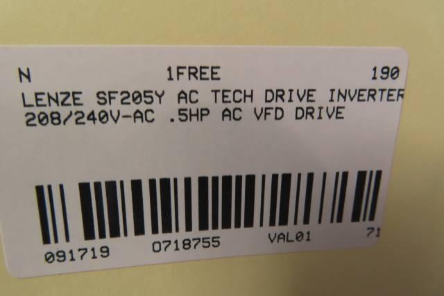 LENZE SF205Y AC TECH AC VFD DRIVE 208/240V-AC 0.5HP