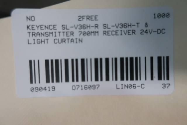 KEYENCE SL-V36H-R SL-V36H-T 700MM RECEIVER & TRANSMITTER 24V-DC LIGHT CURTAIN