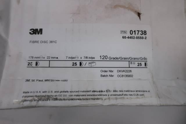BOX OF 25 3M 01738 FIBRE DISC 381C 7IN 120GRIT 7/8IN DISC