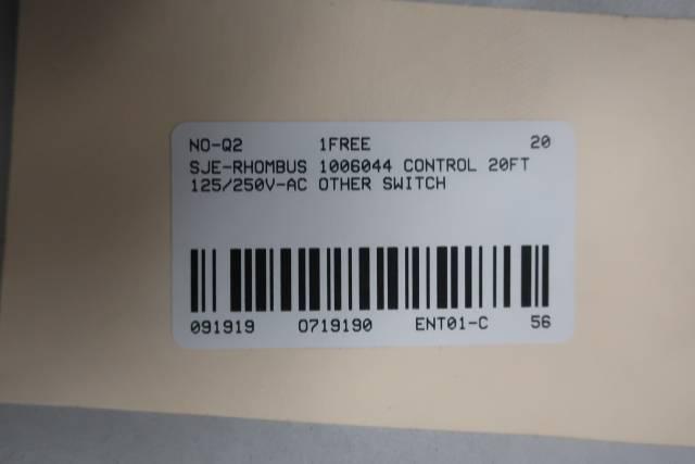 SJE-RHOMBUS 1006044 CONTROL SWITCH 20FT 125/250V-AC
