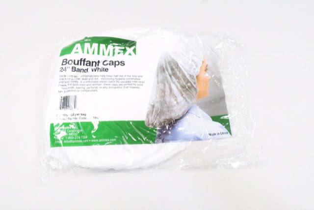AMMEX BC24W BOX OF 1000 WHITE 24 IN BOUFFANT CAPS D544599