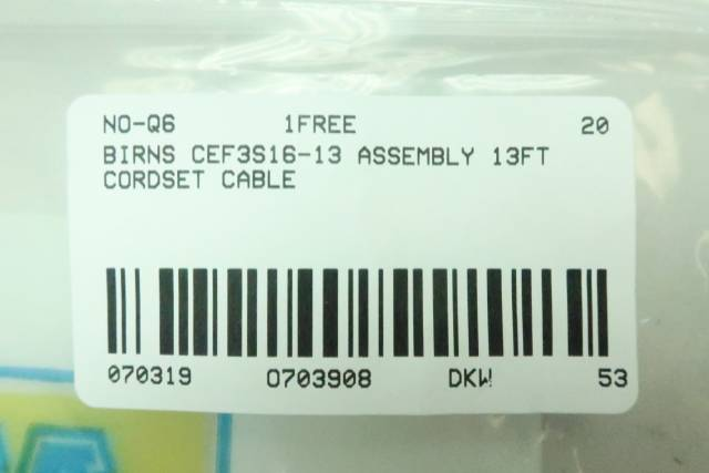 BIRNS CEF3S16-13 CABLE ASSEMBLY 13FT