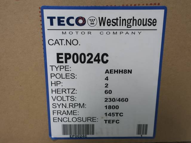 WESTINGHOUSE EP0024C MAX-E1 145TC 3PH 2HP 1740RPM 230/460V-AC MOTOR
