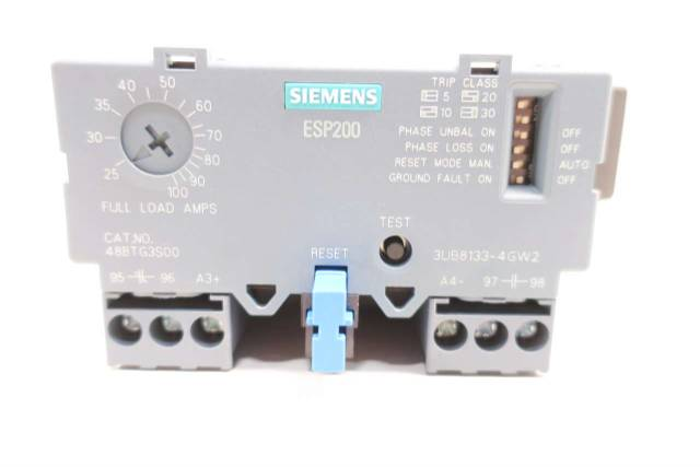 SIEMENS 48BTG3S00 ESP200 25-100A AMP SOLID STATE OVERLOAD RELAY D554670