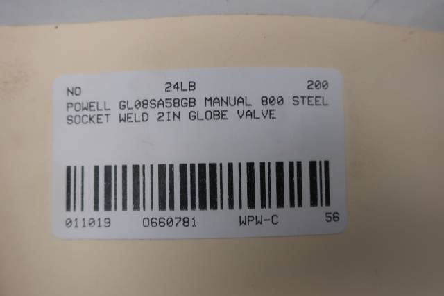 POWELL GL08SA58GB STEEL 800 SOCKET WELD 2IN GLOBE VALVE D660781