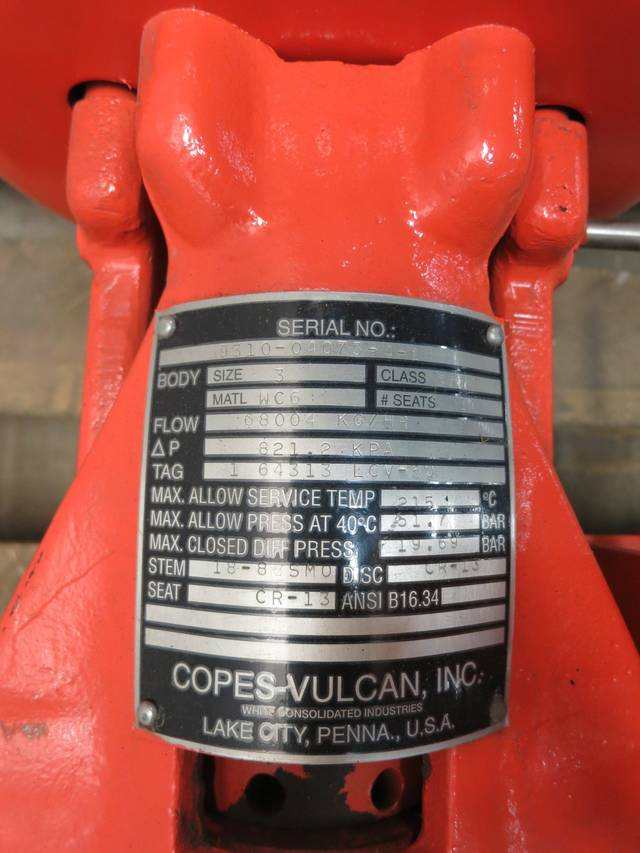 COPES VULCAN 1 643133LCV-50 STEEL FLANGED 3IN 300 GLOBE VALVE D600655