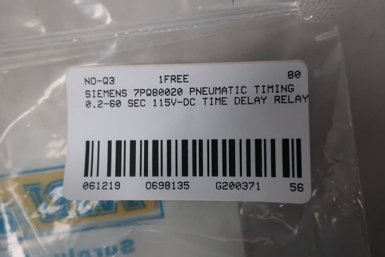 Siemens 7PQ80021 PNEUMATIC TIMING RELAY