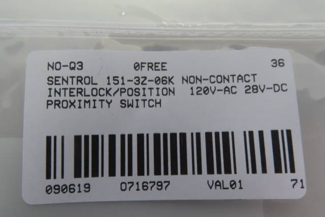 INTERLOGIX 151-3Z-06K SENTROL GUARDSWITCH NON-CONTACT INTERLOCK/POSITION SWITCH